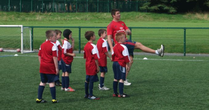 Billy Holland shows off his kicking skills yesterday at CSN Cork.