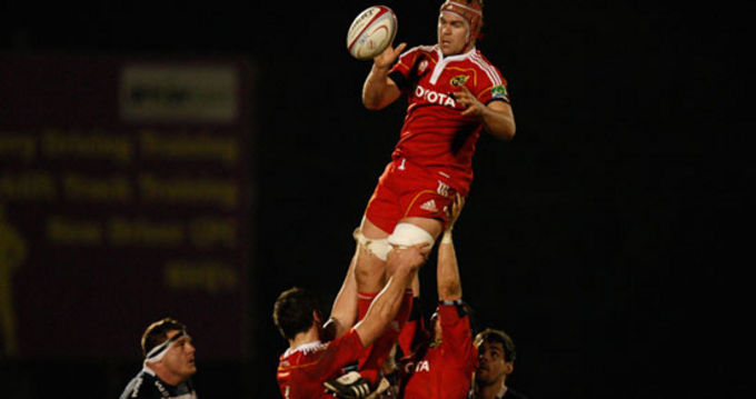 Billy Holland jumps in the lineout against Bristol