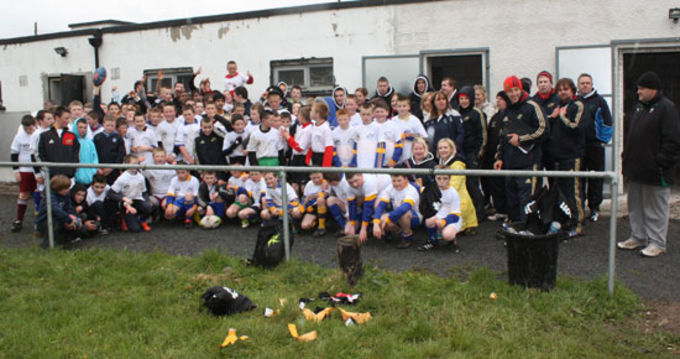 Munster staff pictured with participating teams Presentation RFC, Caherdavin, St Munchins Boys, St Johns Boys National Schools and Southside Garda Diversion Project