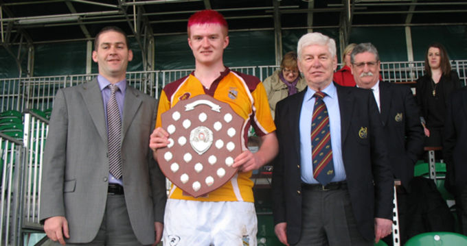 Bruff Captain Tom O'Dwyer receives the U17 Youths Trophy