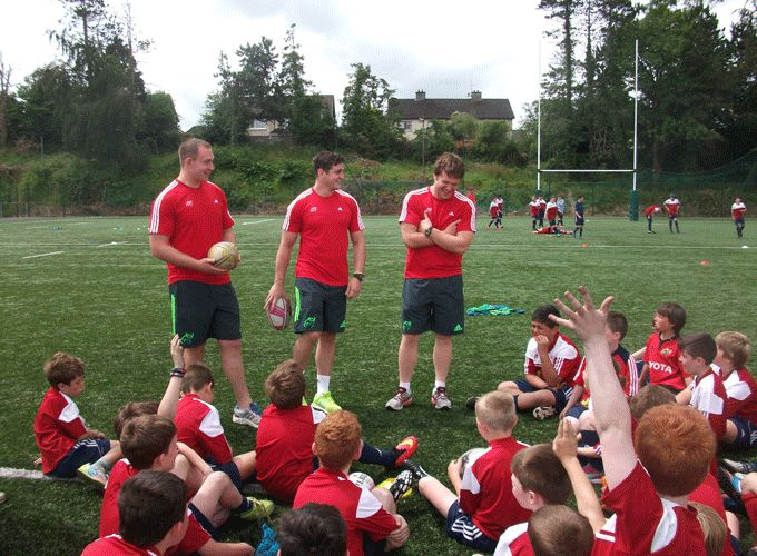 Shane Buckley, Ronan O'Mahony and Mike Sherry enjoy a question and answers forum at Garryowen FC Summer Camp