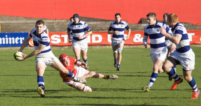 Rockwell College in action in yesterdays Schools Senior Cup Semi Final at Musgrave Park