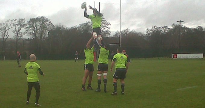 Paul O'Connell jumping in the lineout practice at CIT today