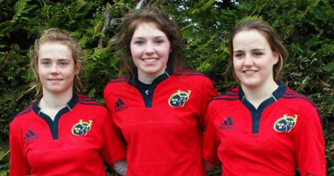 Carrick's Chloe Blackmore, Aoife Moore and Kate English, who all lined out for the Munster Under-18s on Saturday last.