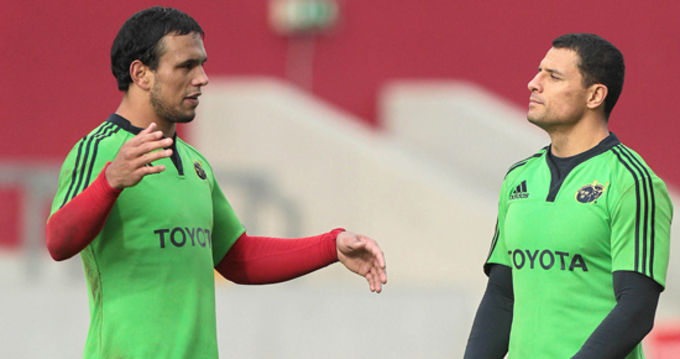 Will Chambers and Doug Howlett at Munster training