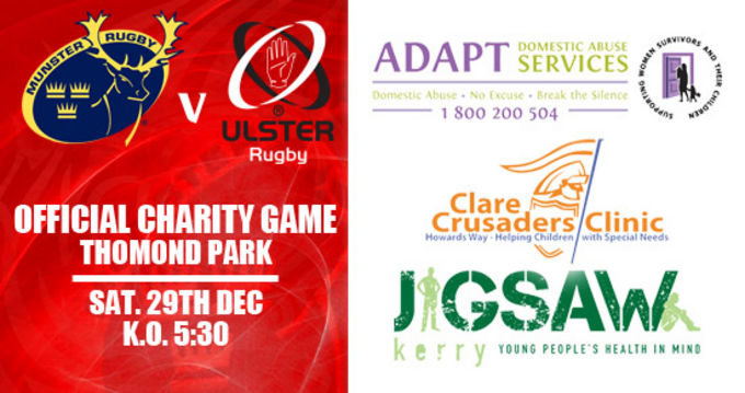 Support our nominated charities at Munster v Ulster in Thomond Park on Saturday December 29th