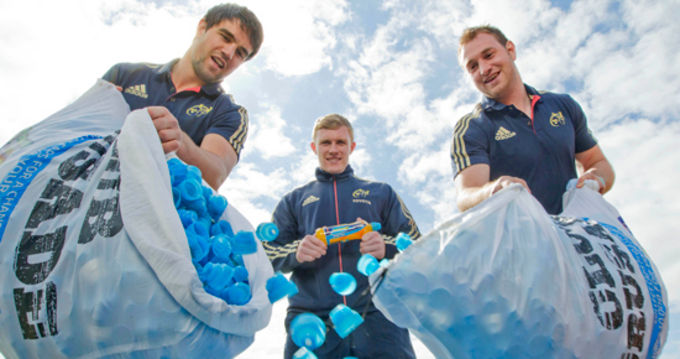 Munster players Conor Murray, Keith Earls and Johne Murphy supporting Lucozade Sport's Club Crusade