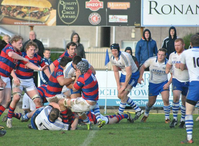 Cork Con in action against Clontarf in last weekend's AIL action