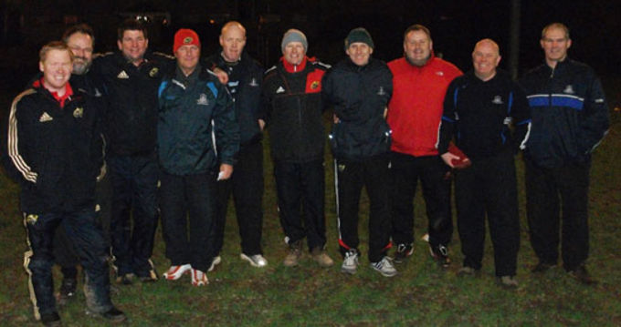 Cork Constitution FC Coaches pictured with Munster Rugby Staff