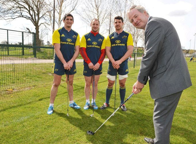 Dave Ronayne, Cork Simon Board of Directors demonstrates his swing for James Downey, Johne Murphy and Paddy Butler