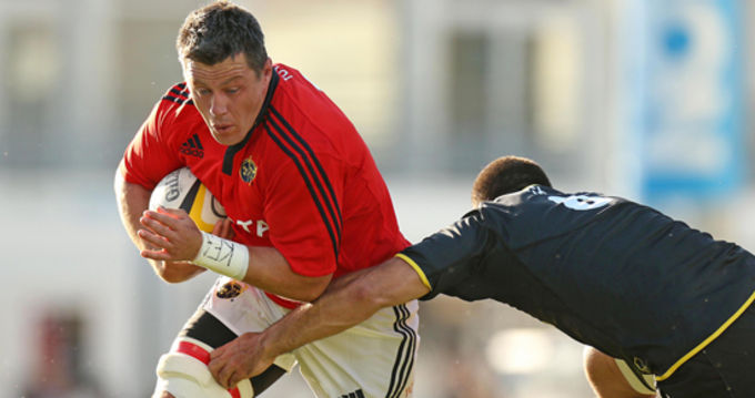 James Coughlan in action against La Rochelle returns to the Munster squad for London Irish