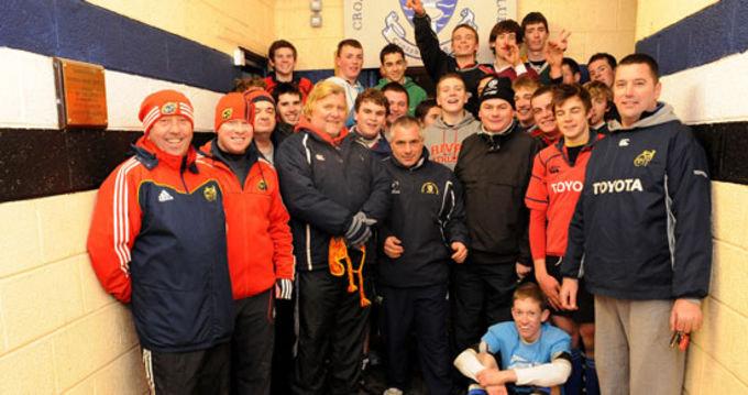 Munster Rugby Coach Officers Keith Murphy and Finny O'Regan with Crosshaven youth coaches