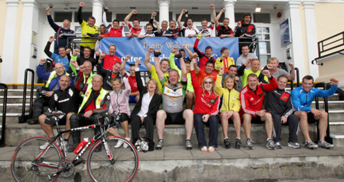Cyclists and Support Crew at Trinity College Dublin at the end of the Irish leg of the Munster Rugby Cycle for Paul Darbyshire and Motor Neurone Research