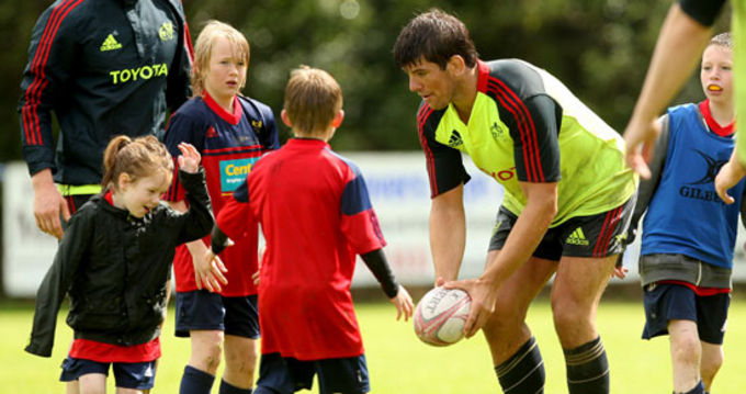 Donncha O'Callaghan at the summer camp in Tralee RFC