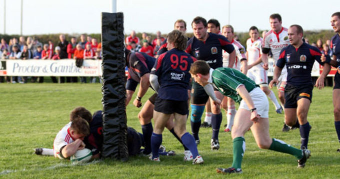Dave Foley just makes it to the line to score for Munster A against a Russian Select XV in Nenagh RFC last season