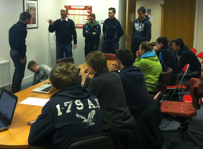 David McHugh addresses students at a recent Referee Coaching Course