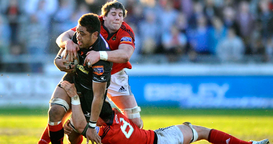 Dave O'Callaghan makes the tackle on Toby Faletau