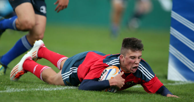 Dave O'Mahony scores a try for the Munster U18 Schools