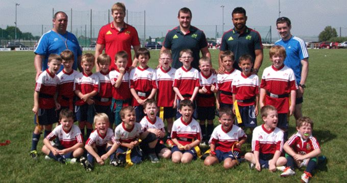 Ivan Dineen, James Cronin and Casey Laulala visit Highfield Rugby Club