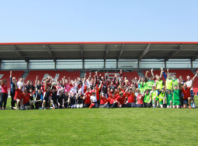 Participants pictured at the Disability Tag Rugby Blitz in Irish Independent Park