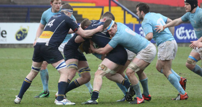 Action from Dolphin and Garryowen's AIL Division 1A clash at Musgrave Park today