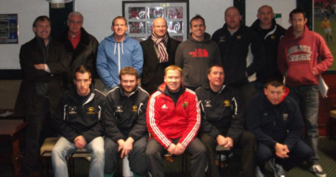 Coach Development Officer Keith Murphy with club cocahes at Dolphin RFC