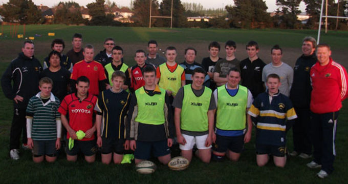 Coach Development Officer Keith Murphy pictured with Dolphin RFC U17 squad