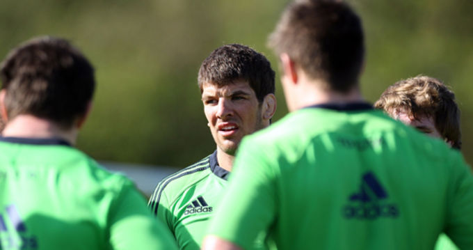 Donncha O'Callaghan training at Fota yesterday
