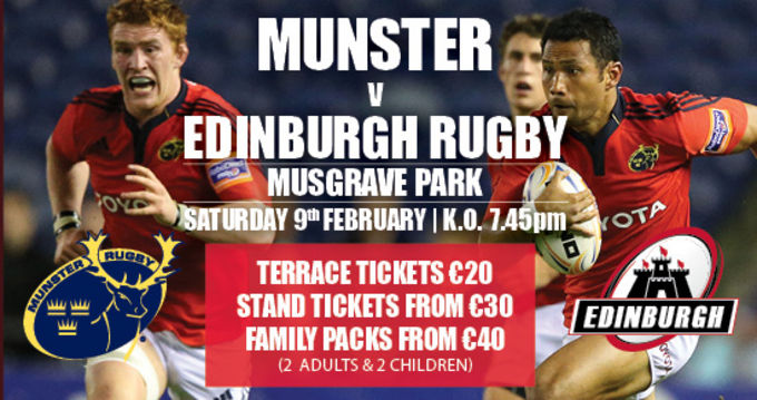 Munster v Edinburgh on February 9th in Musgrave Park