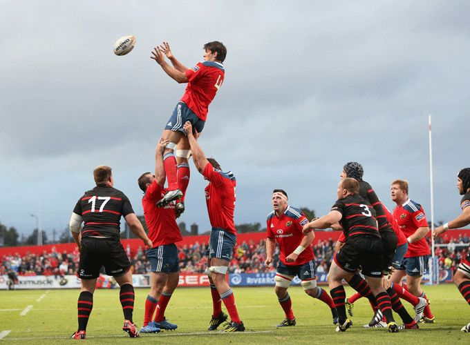 Donncha O'Callaghan wins the line out against Edinburgh in the PRO12 at Musgrave Park