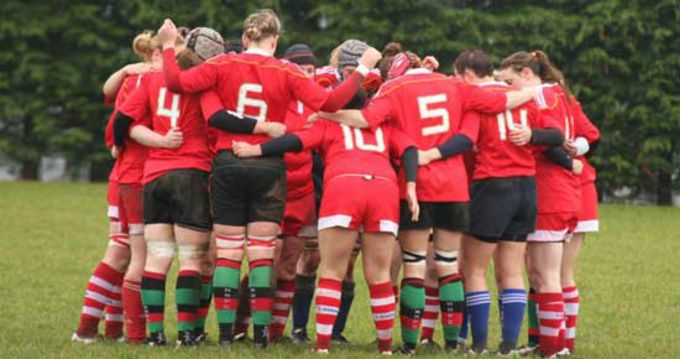 The Munster Women's team huddle together before their challenge game against the Exiles in Clonmel last weekend