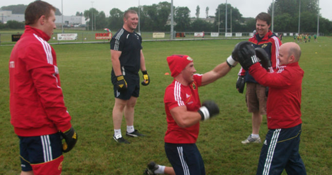 Munster's Eoghan Grace in boxing action at the open Munster training session in Cashel RFC