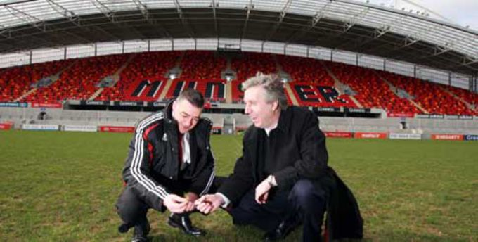 John Cantwell, Thomond Park Stadium Director with John Delaney, Chief Executive Officer of the Football Association of Ireland