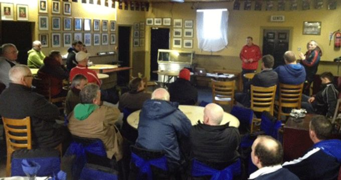 Development Rugby Officers John O'Neill and Noel O'Meara presenting a Faculty Workshop at Shannon RFC
