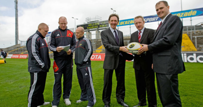 Munster Rugby's Keith Earls, Paul O'Connell and Peter Stringer with representatives of Focus Consulting, Brian McGann, Managing Director, Mark O'Connell Associate Director and Robert Adams, Director.