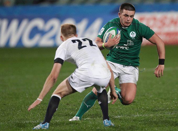 Munster's Ryan Foley on the attack for Ireland U20s during Sunday's semi-final defeat to England