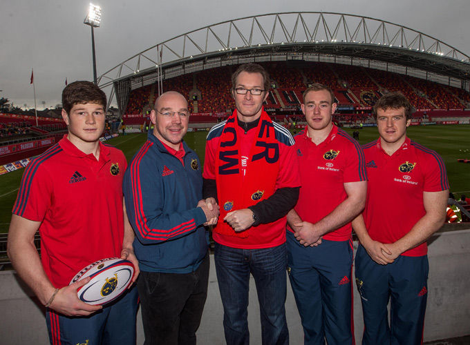 Munster EPDM Peter Malone and Greencore CEO Patrick Coveney with academy players Jack O'Donoghue and Shane Buckley, and Munster's Mike Sherry - a former academy player