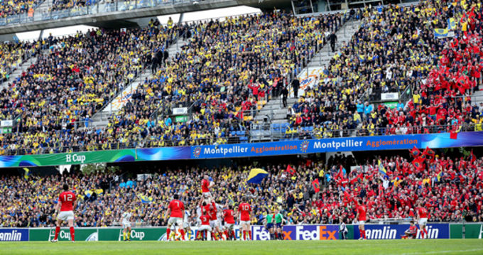 A Munster line-out against the backdrop of supporters in Stade de la Mosson