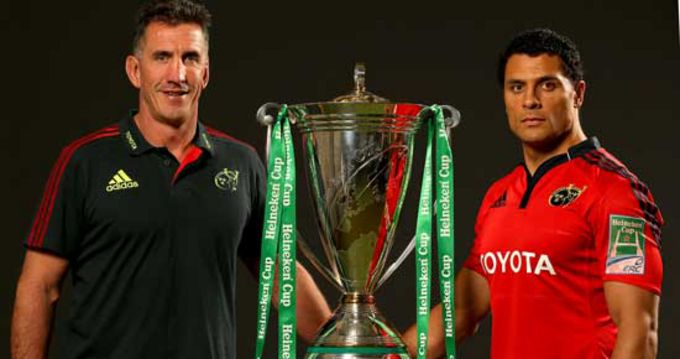 Rob Penney and Doug Howlett with the Heineken Cup