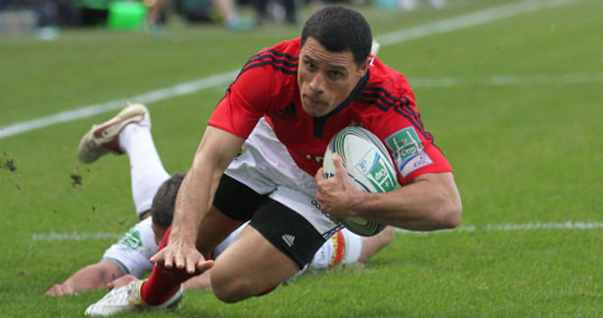Doug Howlett scoring against Castres in the Heineken Cup last season