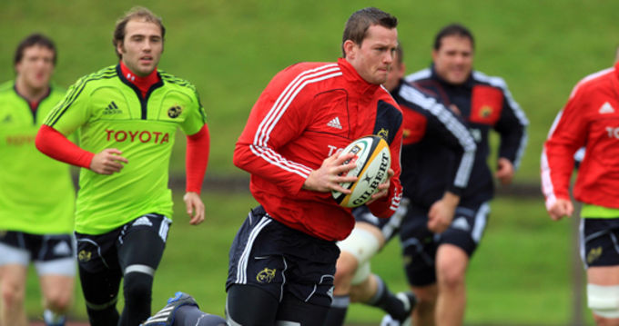 Denis Hurley and Duncan Williams in action at the Munster training session in UL