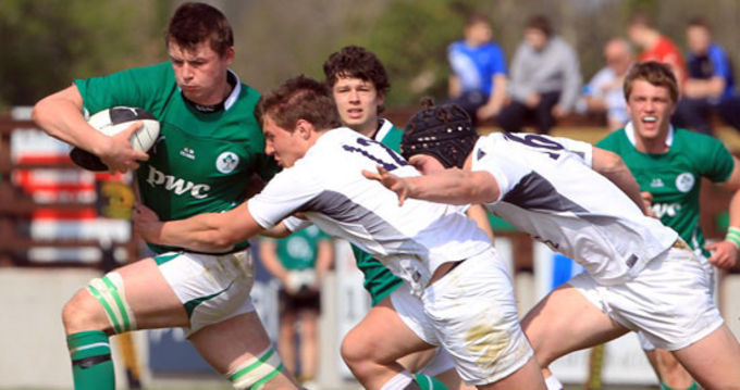 Ireland U18 v England U18 in a recent friendly at Asbourne Rugby Club