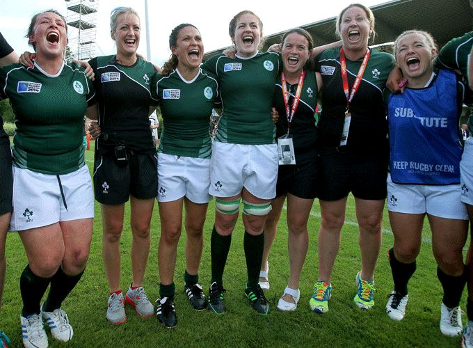 The Ireland women celebrate their historic victory in France