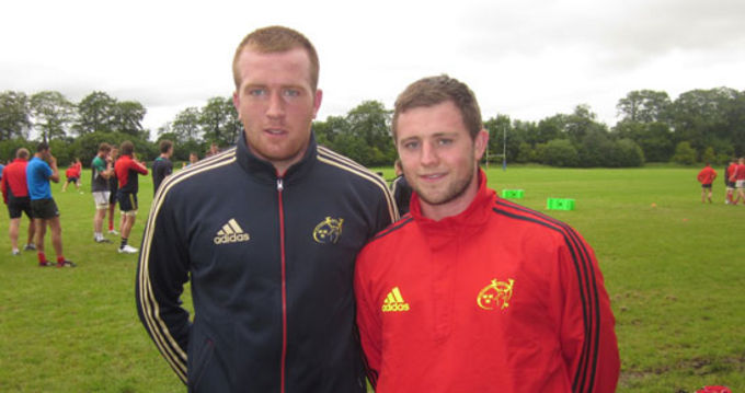 Brian Haugh (right) pictured with fellow Munster U20 player John Fitzgerald at Rockwell College