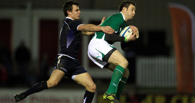 Johne Murphy in action for the Ireland Wolfhounds against Scotland A