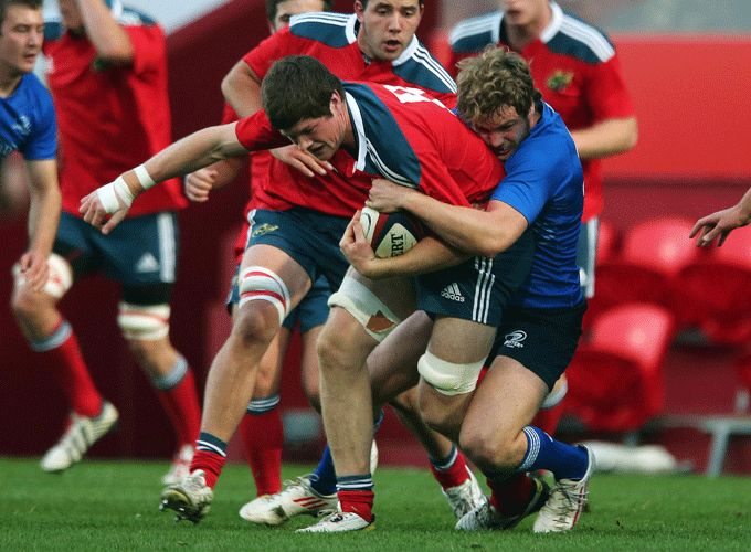 Munster Academy's Jack O'Donoghue in action for Munster U20 against Leinster U20 last September