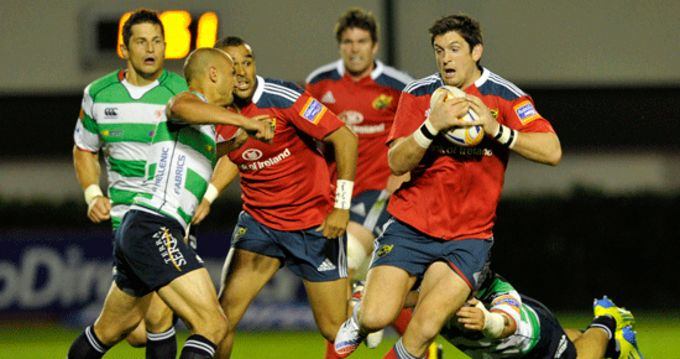 James Downey on the charge with Simon Zebo in support
