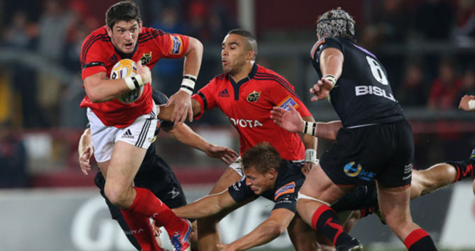 James Downey breaking through the Newport Gwent Dragons defence in Thomond Park
