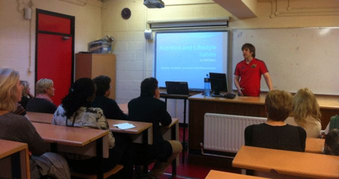 Joe McGinley presents a Nutritional Information Seminar for parents at CBC, Cork.