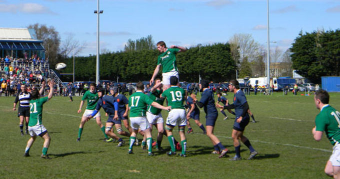Charleville's John Madigan secures the line-out for Ireland in their game against France